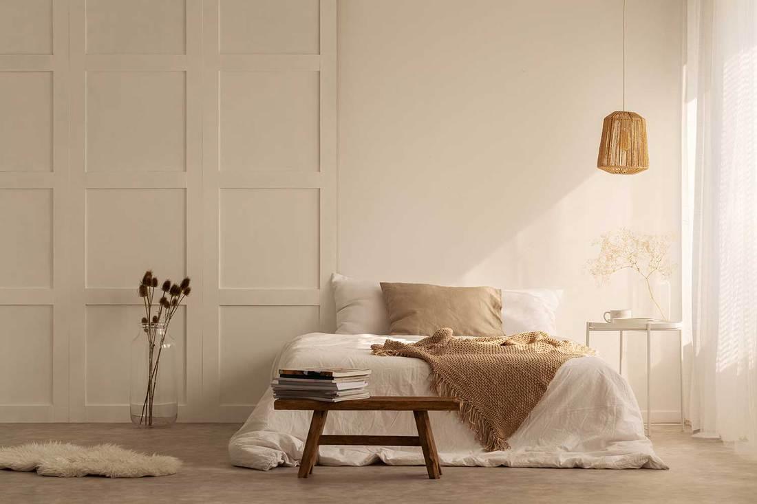 White minimalist scandinavian style bedroom