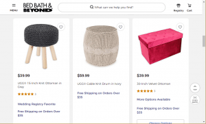 Poufs and Ottomans on Bed, bath and beyond's page.