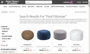 Poufs and Ottomans on better homes and garden's page.