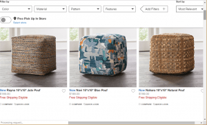 Poufs and Ottomans on crate and barrel's page.
