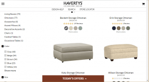 Poufs and Ottomans on Haverty's page.