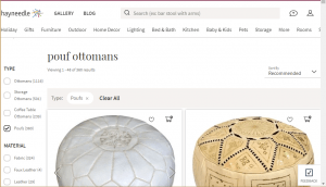 Poufs and Ottomans on Hayneedle's page.