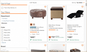 Poufs and Ottomans on Home depot's page.