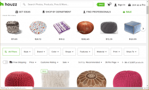 Poufs and Ottomans on Houzz's page.