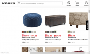 Poufs and Ottomans on kohl's page.