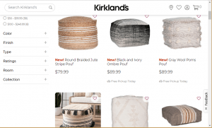 Poufs and Ottomans on Kirkland's page.