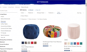 Poufs and Ottomans on Pier 1's page.