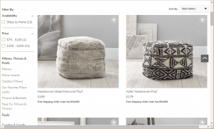 Poufs and Ottomans on pottery ban's page.