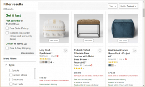 Poufs and Ottomans on Target's page.
