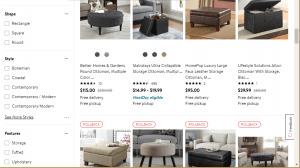 Poufs and Ottomans on walmart's page.