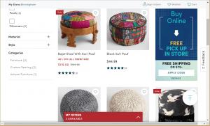 Poufs and Ottomans on world market's page.