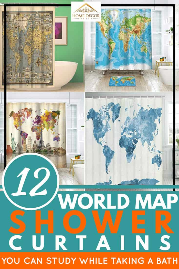 12 World Map Shower Curtains You Can Study While Taking a Bath