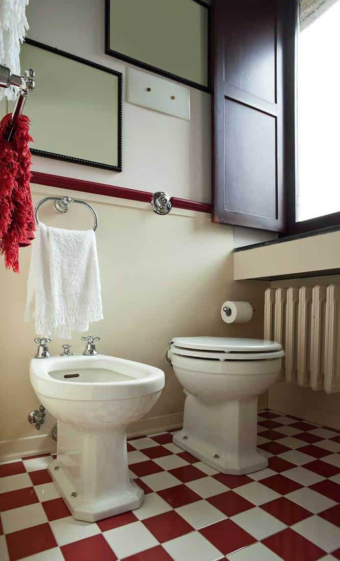 Apartment toilet with red and white tile floor