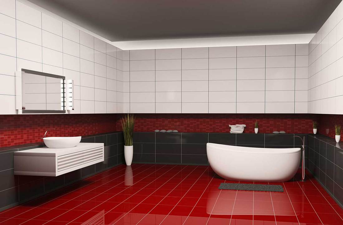 Bathroom with black white walls and red floor interior
