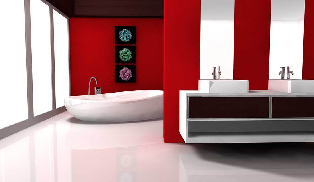 Bathroom with contemporary design and furniture colored in red and white