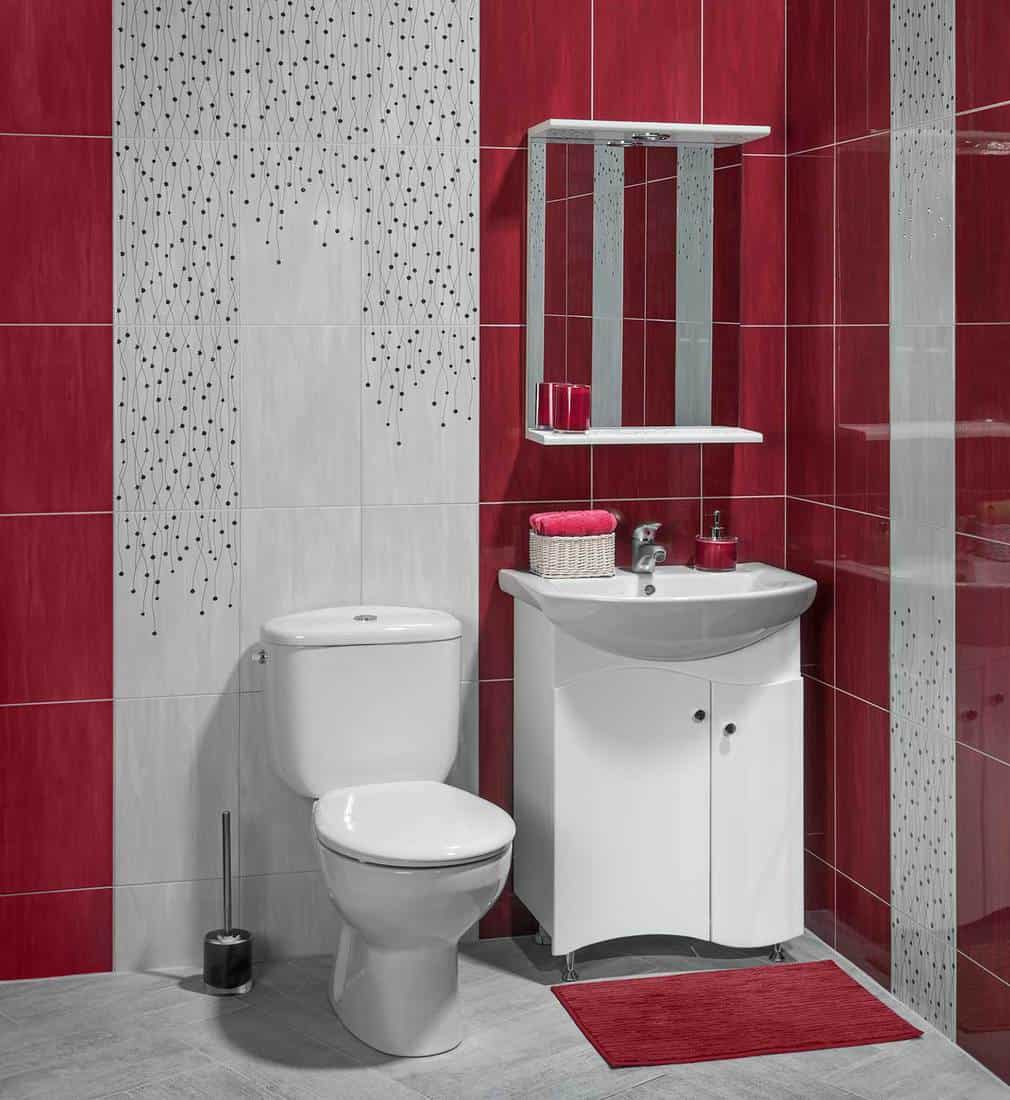 Beautiful interior of bathroom with sink and toilet, decorated with red tiles