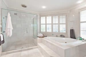 Beautiful modern bathroom with marble tiles in australian mansion