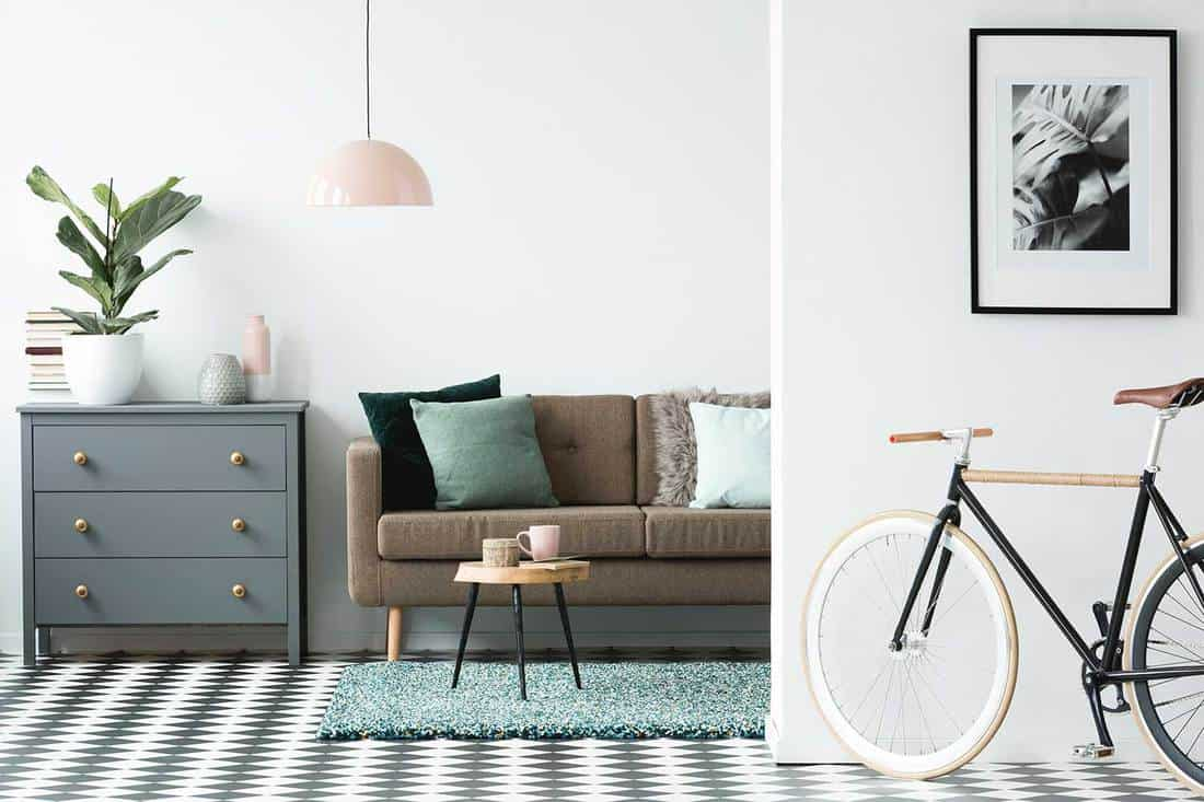 Grey couch with a turquoise rug (Bicycle and poster in cozy living room interior with wooden table near brown couch and grey cabinet)