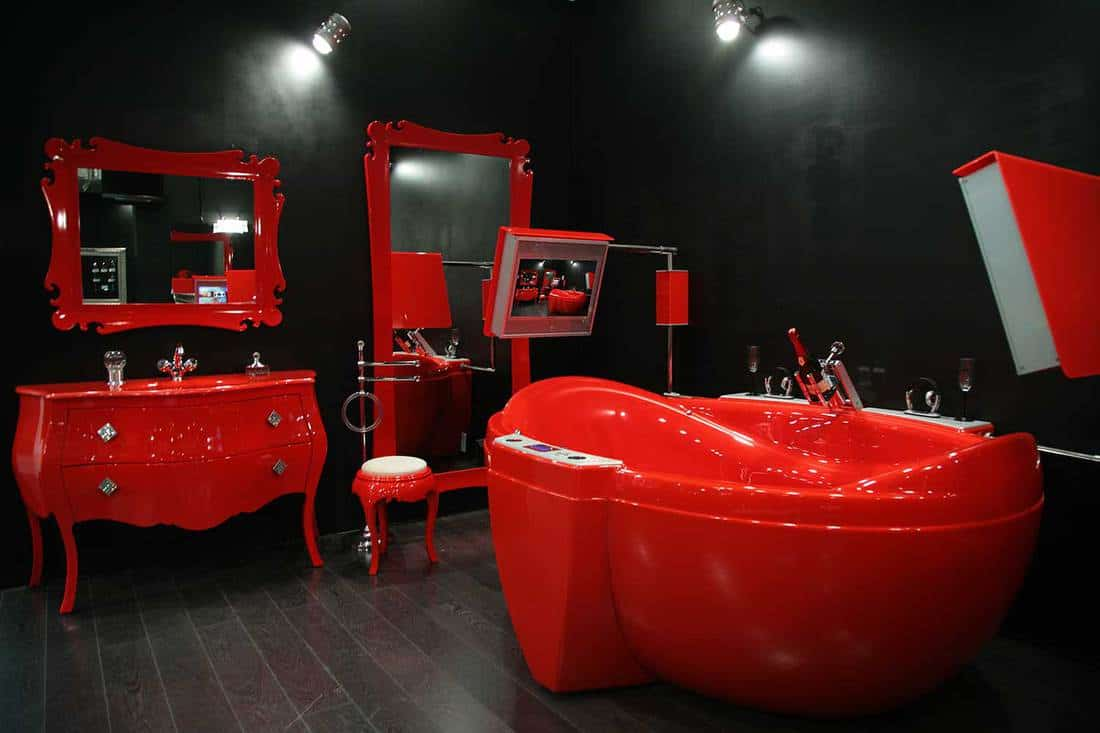 Black and red bathroom with classic interior