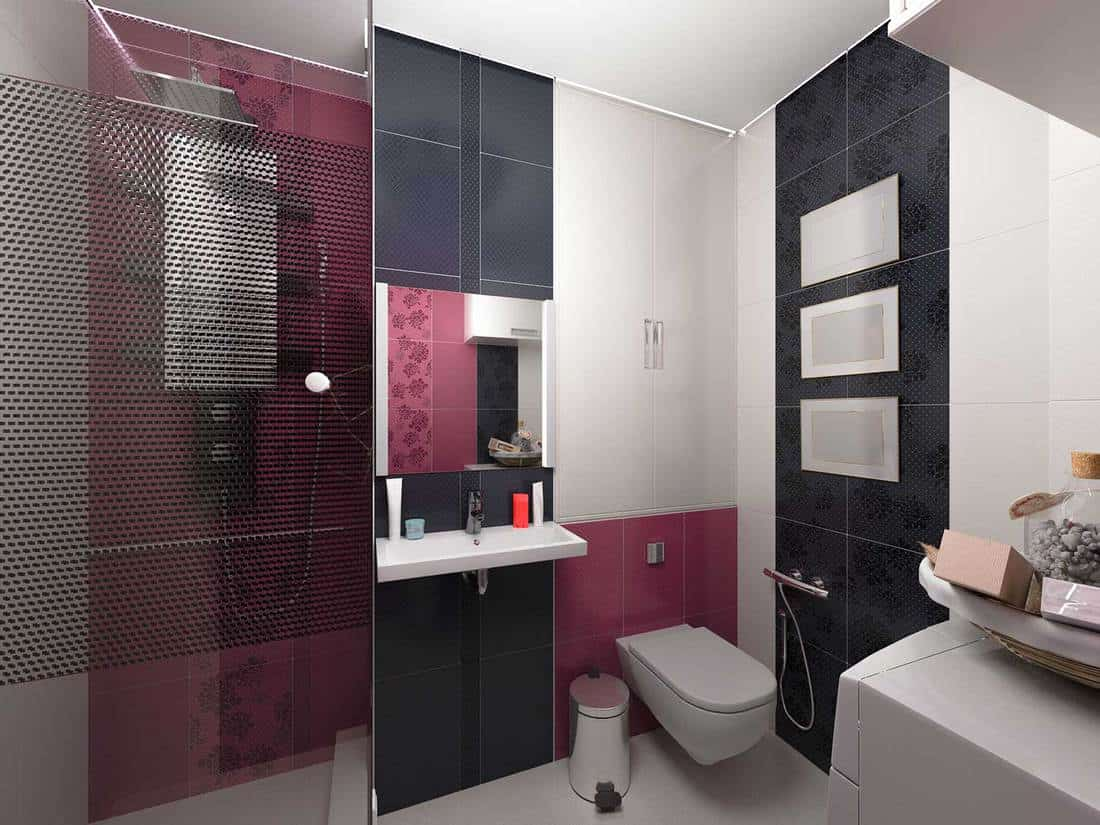 Black and red modern house bathroom with shower, toilet and washbasin