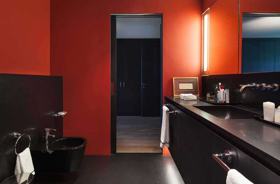 Comfortable bathroom in modern design with red walls and black washbasin