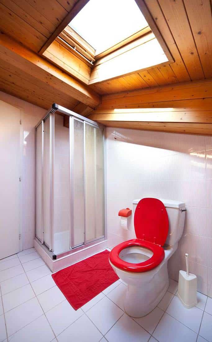 Cosy modern attic bathroom interior