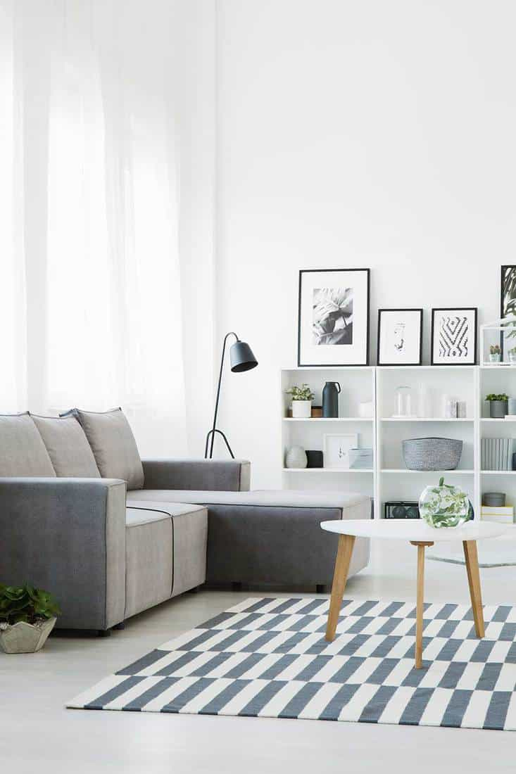 Grey couch standing in front of a table that stands on a patterned rug in modern living room interior with shelves, ornaments, posters and lamp