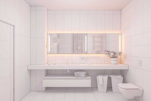 Interior design of a modern bathroom with a large mirror