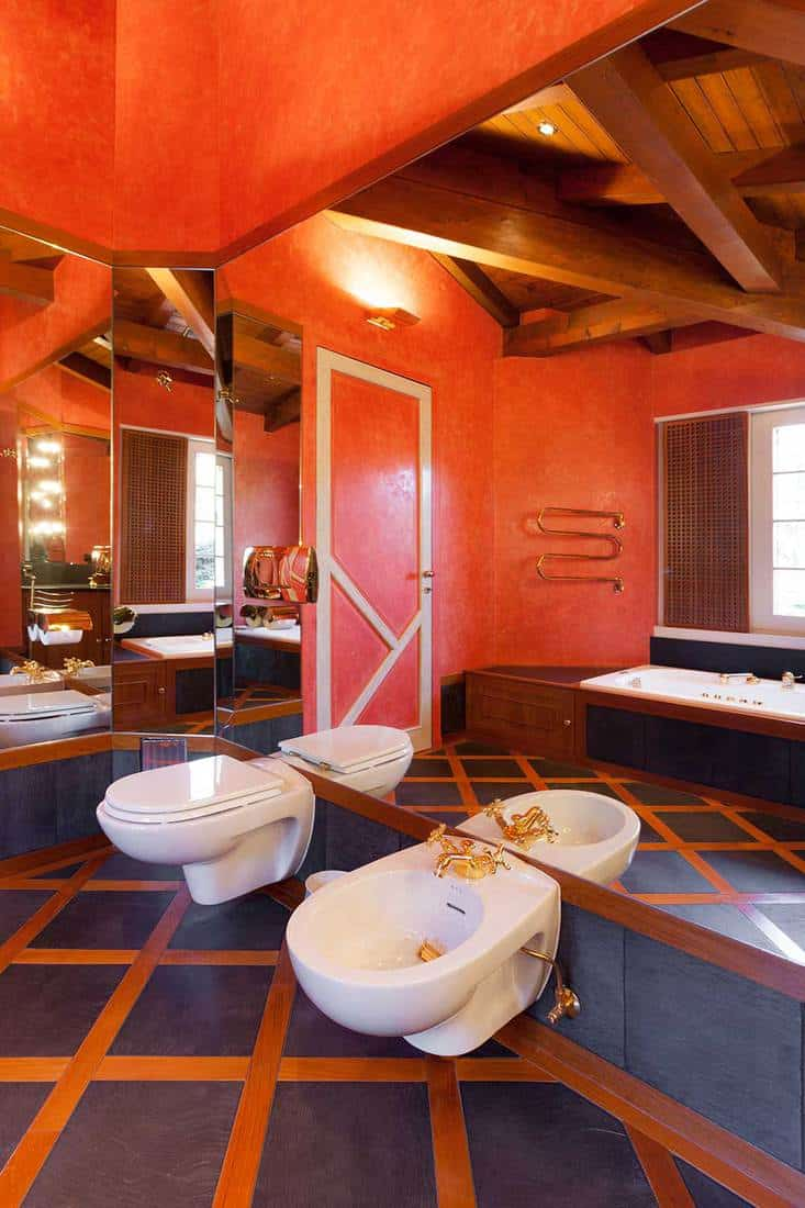 Interior of a house bathroom with red walls, bathtub and large mirror