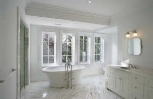 Interior of a new large modern bathroom