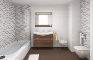 Interior scene of a modern bathroom in white and brown colors