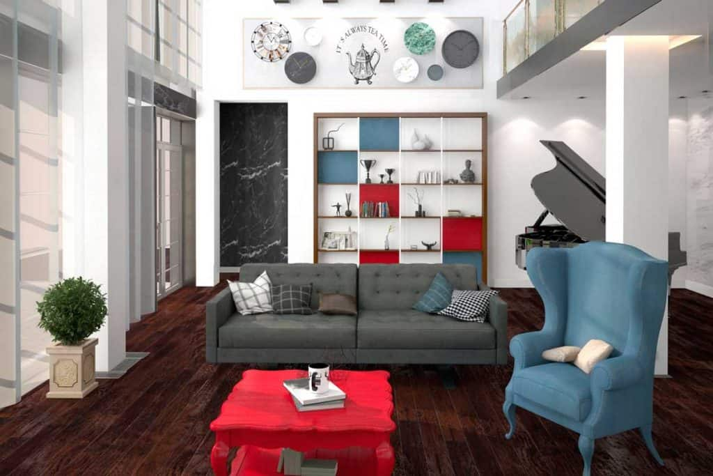 Eclectic living room design with red and blue velvet sofa