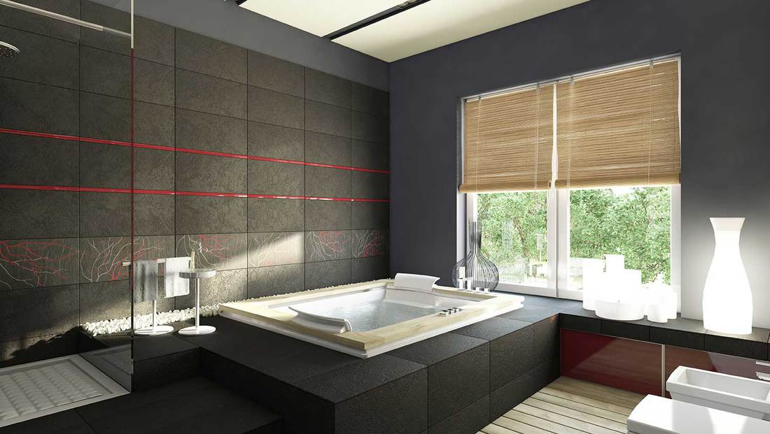 Japanese theme black bathroom with red stripes