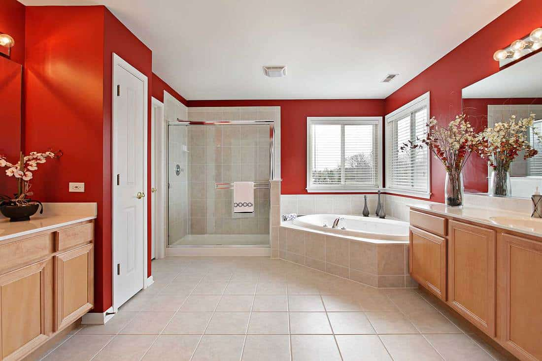 Large master bathroom with red walls and glass shower