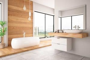 Large modern bathroom with bath tub and outside view
