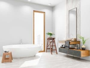 Large modern bathroom with city overview glass window