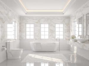 Luxury bathroom with white tile floor and marble wall