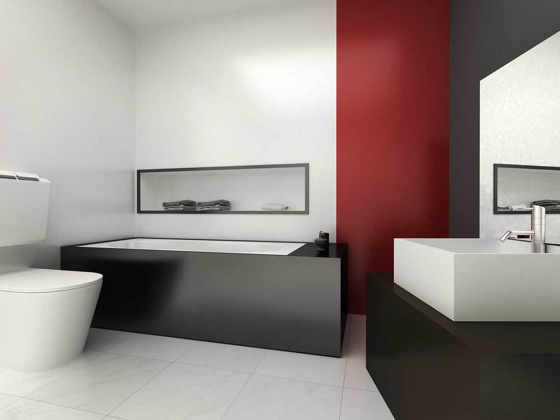 Luxury black and red bathroom interior