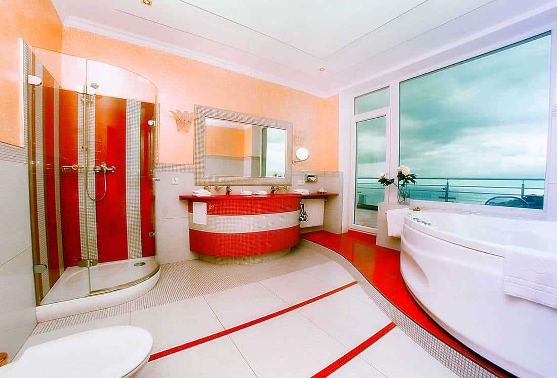 Luxury large bathroom with panoramic window
