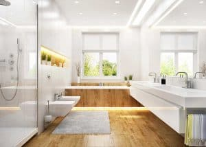 Luxury white bathroom in modern large house with tiled parquet floor