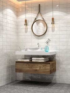 Minimalist modern bathroom with ceramic sink, tiled walls and grey floor