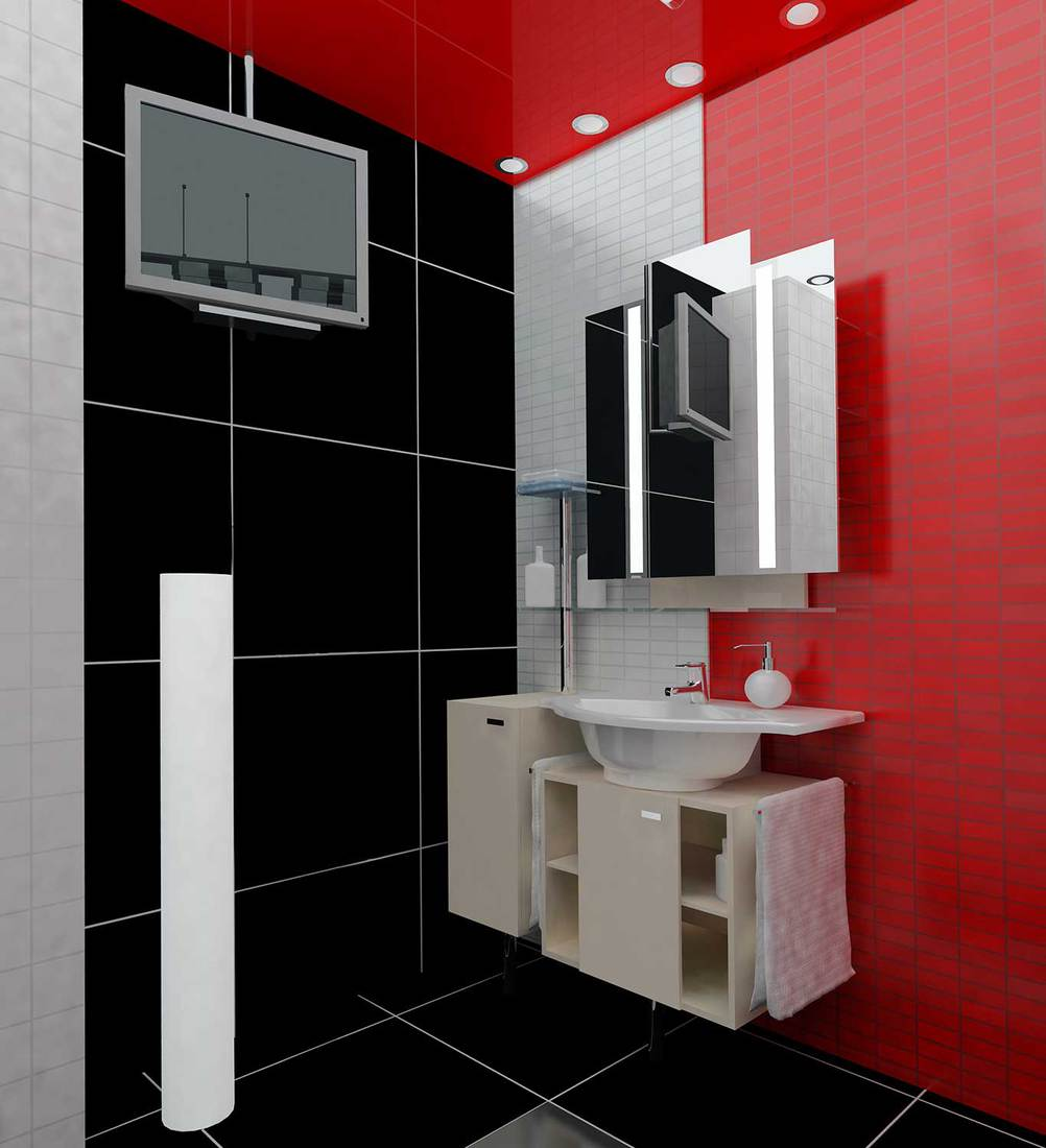 Modern apartment bathroom with black, white and red tiles