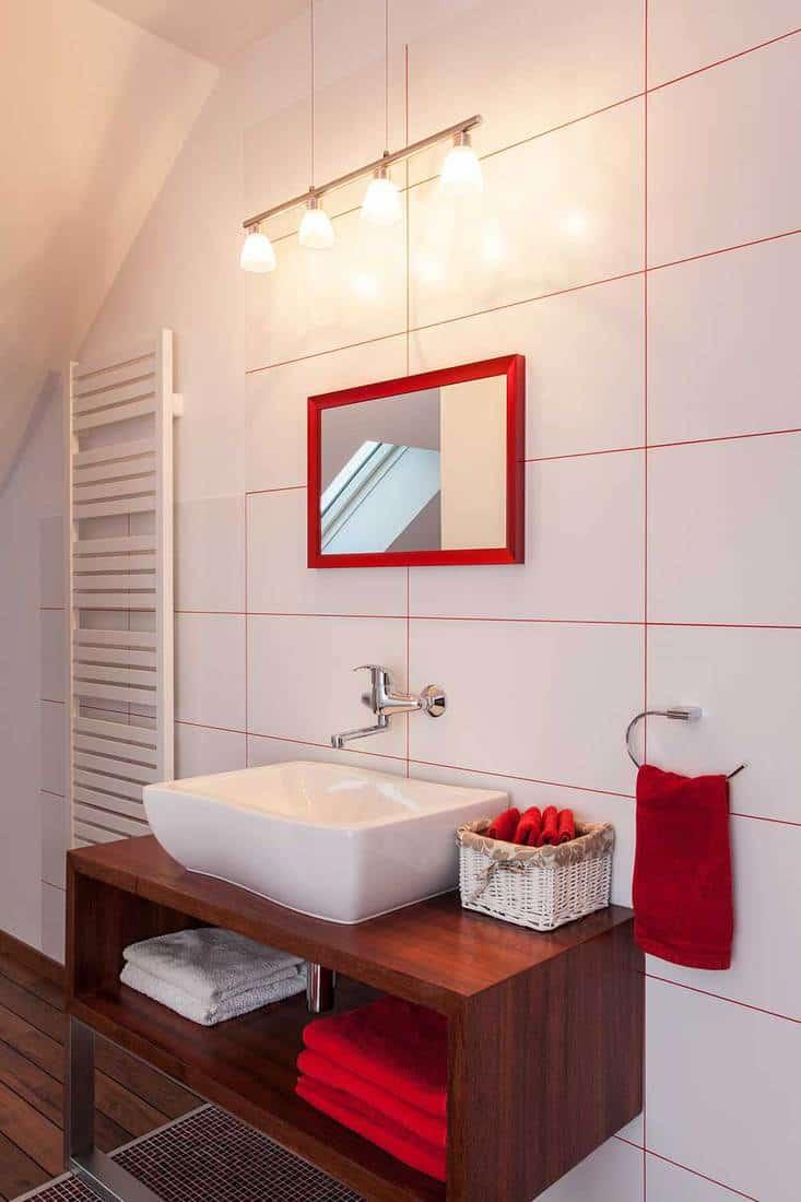 Modern attic bathroom washbasin
