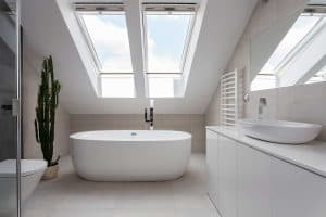 Modern attic bathroom with porcelain washbasin, bathtub and cactus