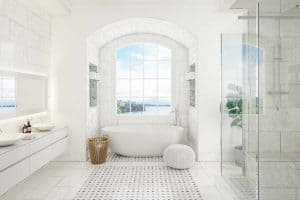 Clean white bathroom interior with sea view window