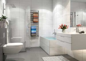Modern bathroom interior with shower, bath tub and boho towels