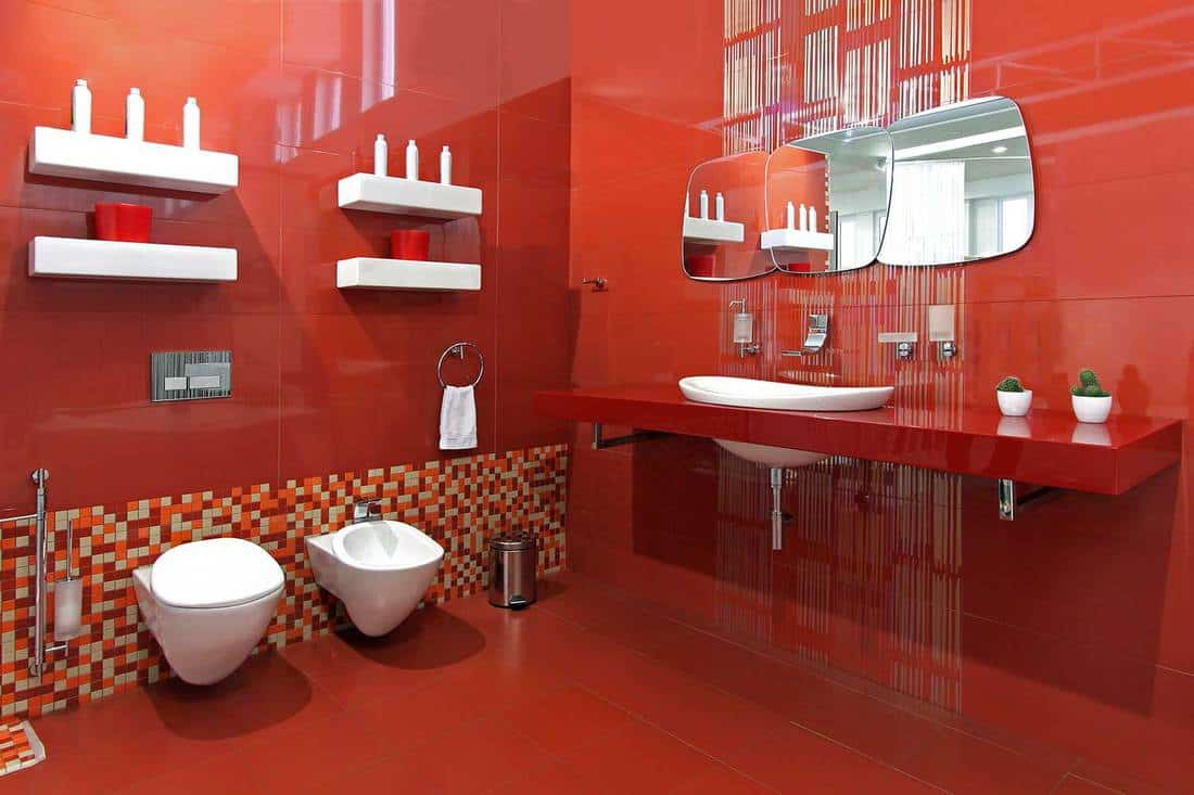 Modern bathroom with red ceramic walls and contemporary fixtures