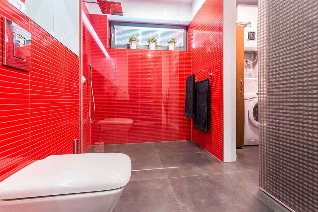 Modern bathroom with red tile walls and grey floor