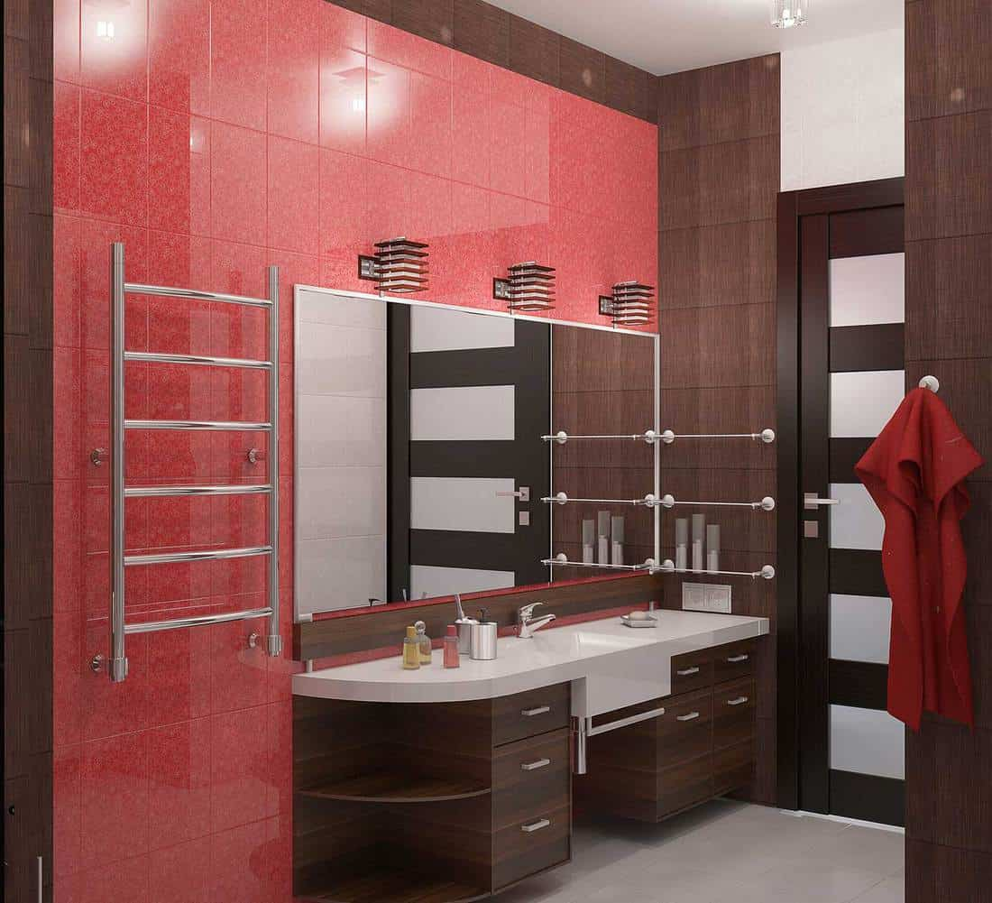 Modern bathroom with red tiles and dark wood interior