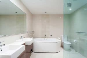 Clear white master bath in luxury apartment